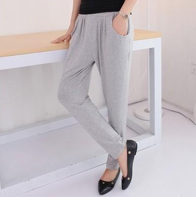 Mùa hè màu đen phần mỏng đàn hồi eo quần bó sát phụ nữ mặc loose feet quần harem eo cao phương thức quần dài Quần Harem