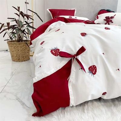 新款欧式60支全棉刺绣长绒棉四件套简约纯棉床单被套床笠床上用品