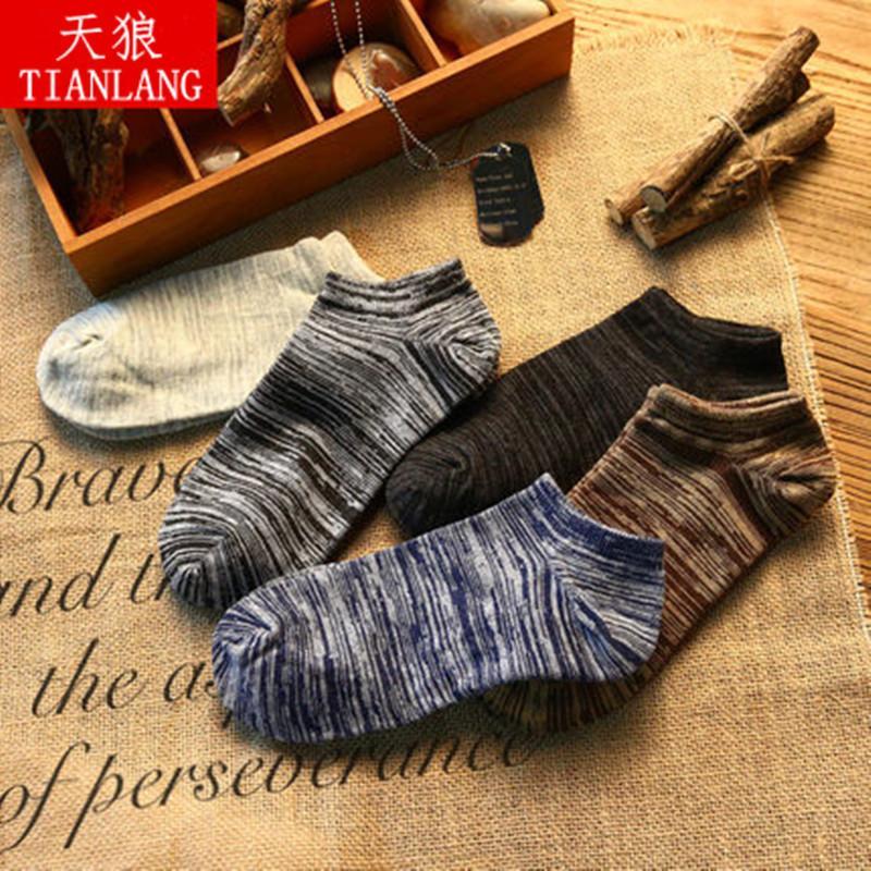 5双男女四季通用男士袜子船袜短筒中筒复古短袜吸汗透气防臭男袜