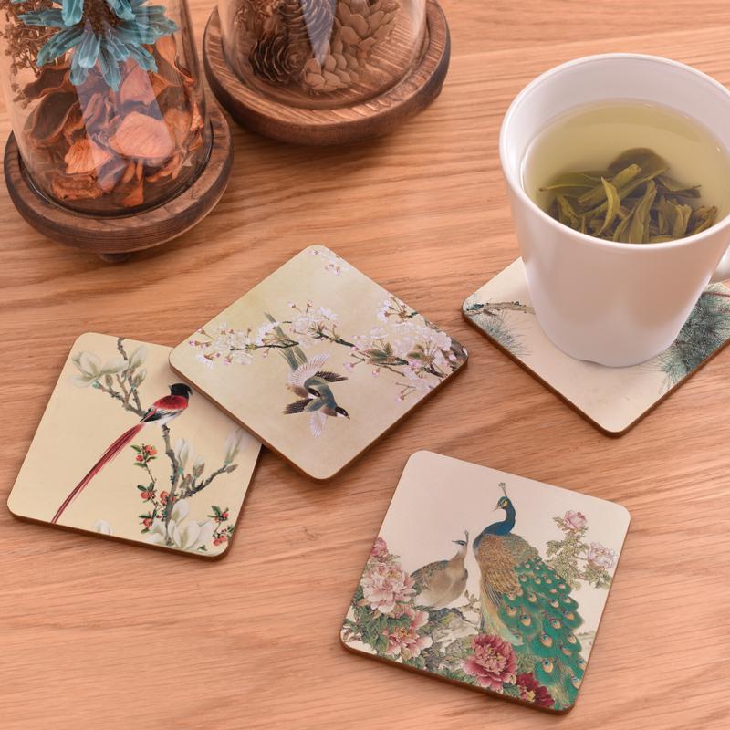 4个装 定制家用软木防滑杯垫简约可爱北欧茶杯水杯垫子木质隔热垫