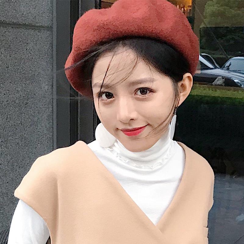 实拍 2328#秋冬韩版百搭英伦复古贝雷帽日系女南瓜帽画家帽
