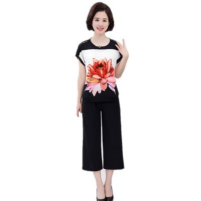 40-50 tuổi mẹ nạp mùa hè voan phù hợp với phụ nữ trung niên của áo sơ mi ngắn tay + quần rộng chân lỏng hai mảnh