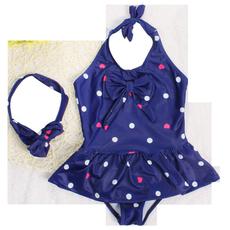 2017新款包邮奥莉同款儿童泳衣连体女孩女童公主波点泳装游泳衣