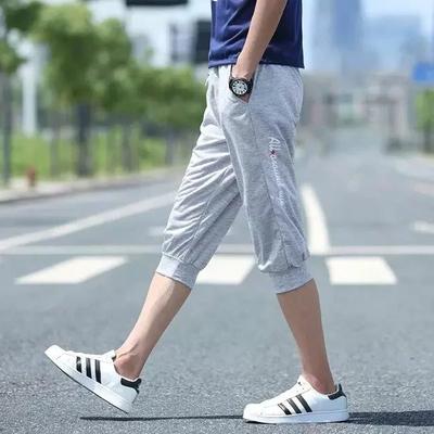 Cắt quần của nam giới thể thao và giải trí quần short triều nam quần lỏng mùa hè đóng miệng quần phần mỏng mùa hè 7 điểm ống túm 3/4 Jeans