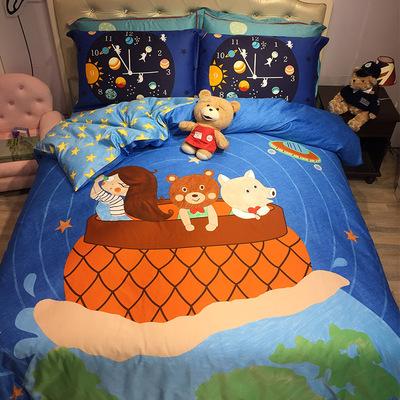 新品 卡通儿童男孩女孩60支长绒棉贡缎熊宝贝四件套床上用品