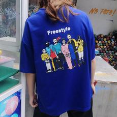 5610#实拍韩版宽松红色ins半袖大T恤韩范学生bf风短袖上衣