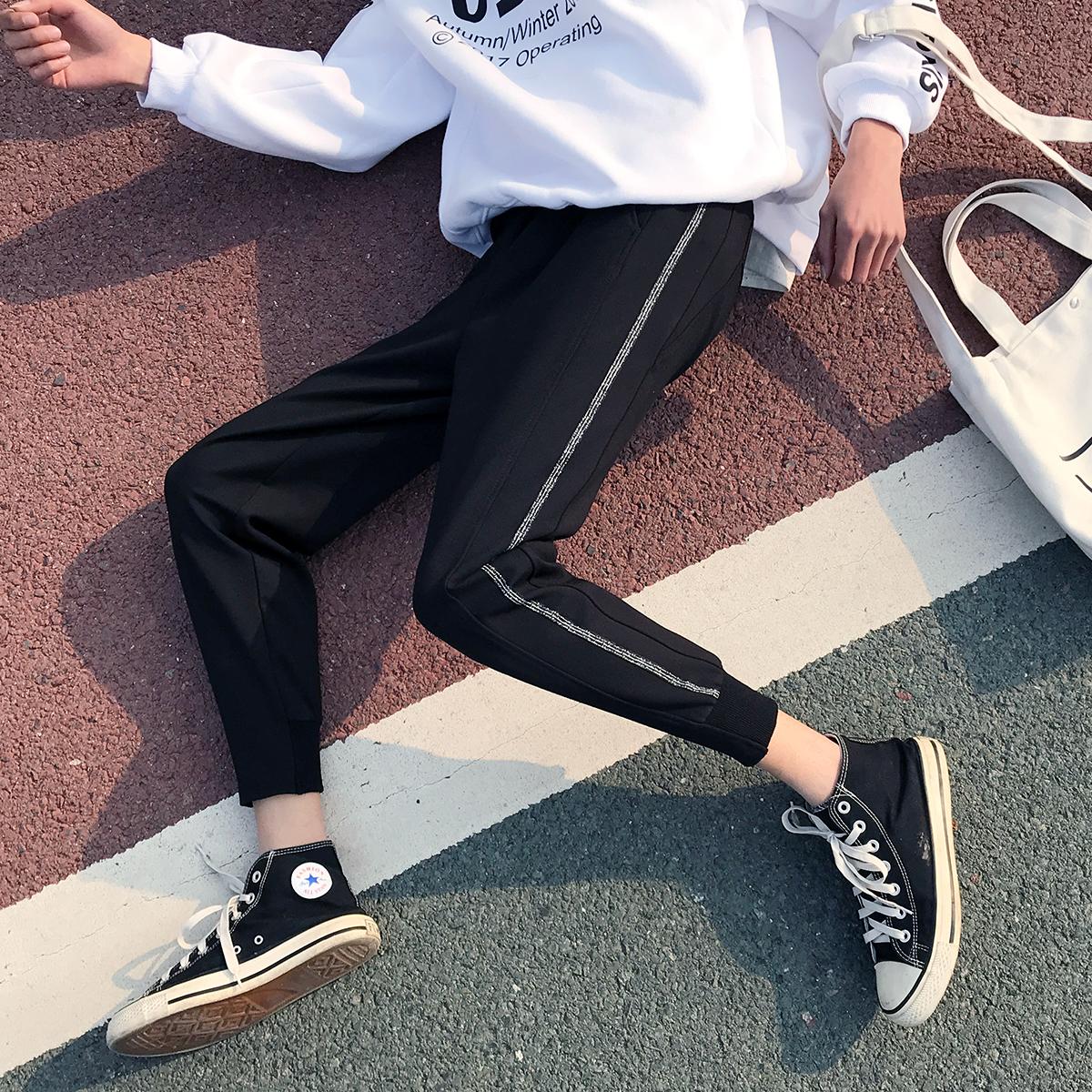@方少男装 春季运动小脚休闲裤男日系纯色修身黑色大码九分裤