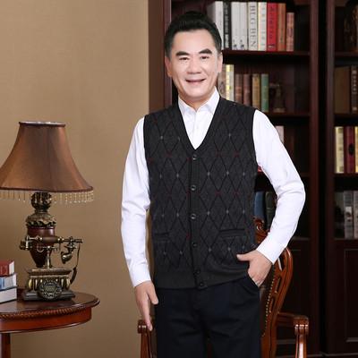 Mùa xuân quần áo trung và tuổi già len vest nam V-Cổ cardigan trung niên đan áo len vest người già vest vai cha Dệt kim Vest