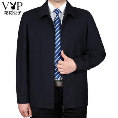 Playboy người đàn ông trung niên ve áo áo khoác nam mùa xuân và mùa thu trung niên cha mặc áo khoác giản dị áo khoác lỏng Áo khoác