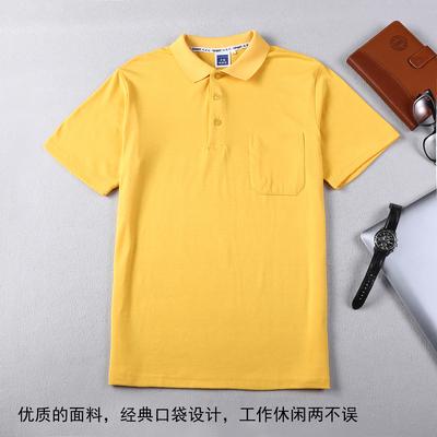 Mùa hè của nam giới và phụ nữ thể thao T-shirt màu rắn ve áo ngắn tay chì bông POLO áo sơ mi với túi cổ áo yếm Áo thun nam tay ngắn Áo phông ngắn