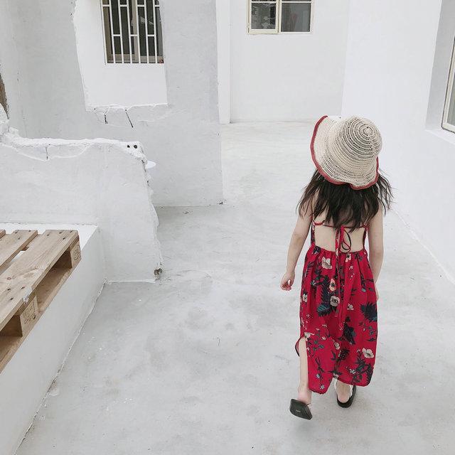 Mùa hè 2019 phiên bản Hàn Quốc mới của bé gái ngày lễ gió váy hoa treo váy bé gái - Váy