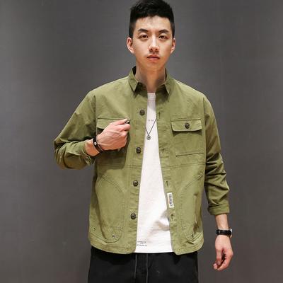 Macheda mùa xuân và mùa thu quần áo Nhật Bản đa túi dụng cụ áo khoác thanh niên nam retro ve áo lỏng áo giản dị