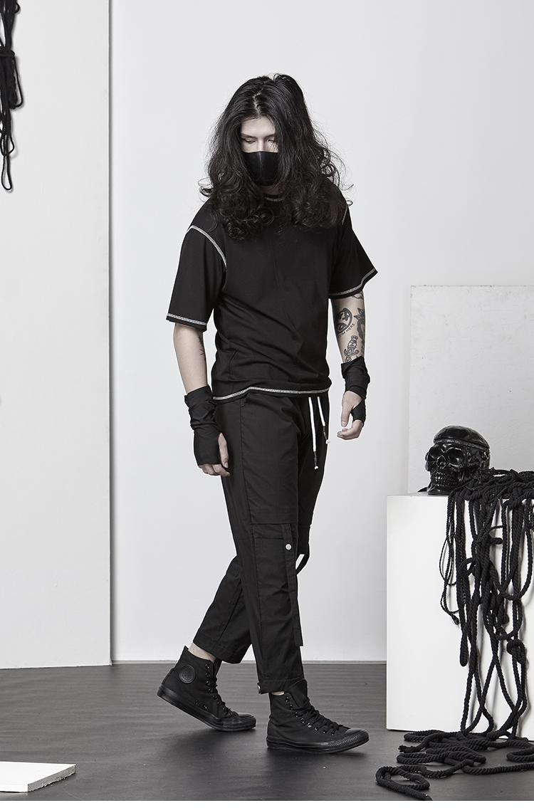 颓废元素暗黑百搭基本款T恤异色包边夏装透气圆领短袖个性休闲男