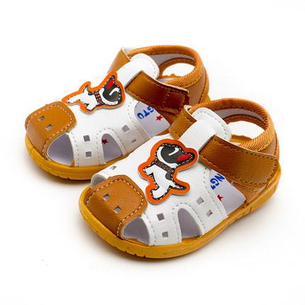 婴儿包头凉鞋宝宝男机能鞋防滑软底小童夏季鞋女皮款学步鞋叫叫鞋