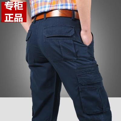 Quần yếm nam chính thức cotton đa túi quần overalls đa túi lỏng cộng với phân bón để tăng kích thước lớn thẳng Quần làm việc
