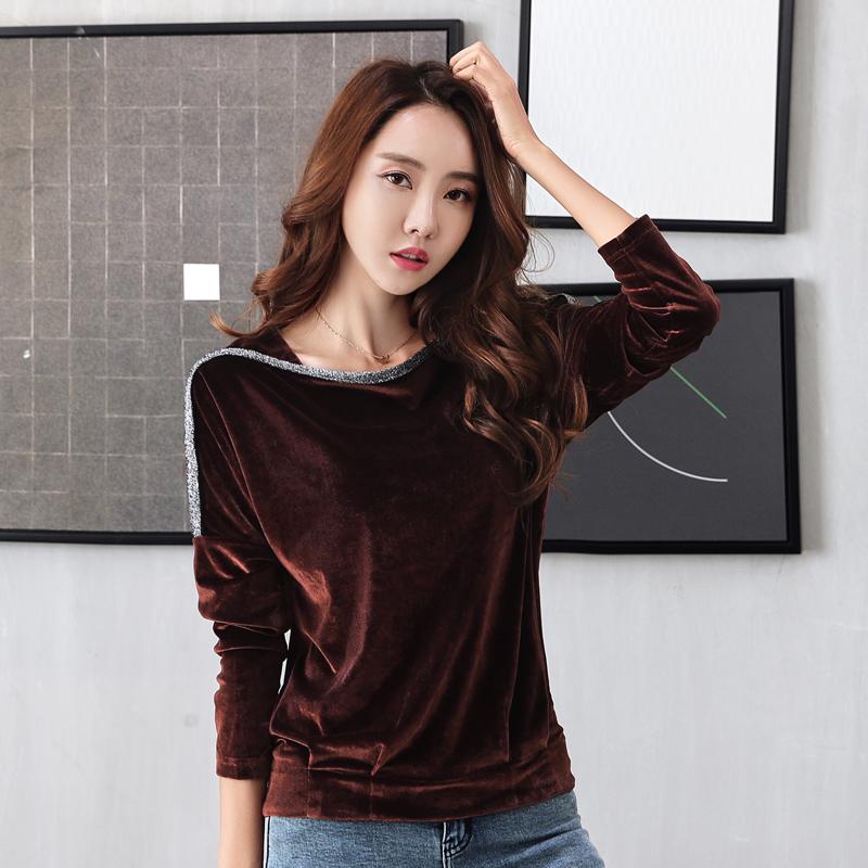 2018秋冬大码t恤女长袖外穿韩版百搭宽松显瘦一字领金丝绒上衣潮