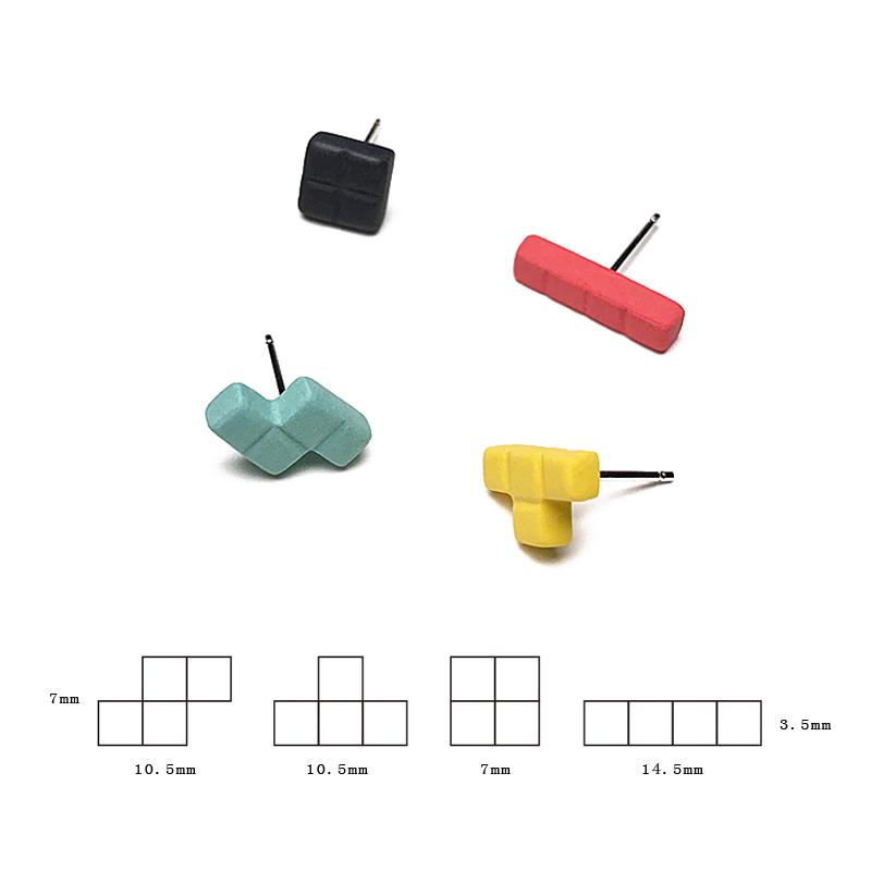 红黑黄绿色俄罗斯方块耳钉ifu腔调设计师品牌创意另类不对称套装