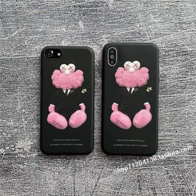 卡通粉色公仔xs max手机壳苹果x情侣iPhone78plus软xr可爱11pro潮