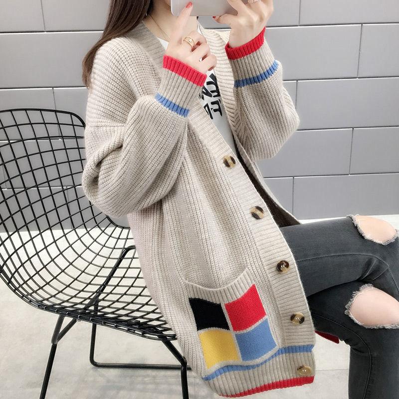 2新款女韩版外套女春秋毛衣外套春装宽松中长款很仙的针织开衫