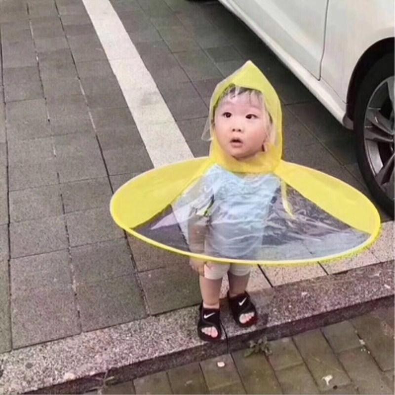 专利正品飞碟帽飞碟伞学生雨伞帽儿童伞免撑折叠斗蓬式雨衣钓鱼伞