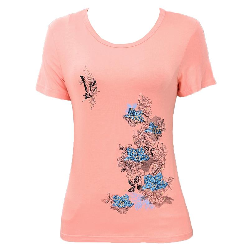 Trung niên và phụ nữ cao tuổi của mùa hè phương thức ngắn tay T-Shirt 40-50 tuổi mẹ nạp mùa hè kích thước lớn áo sơ mi