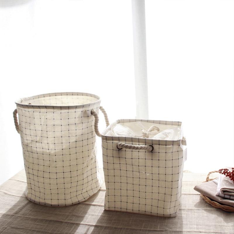 个性家居棉麻布艺 简约素朴方格子可洗收纳箱 家居整理折叠收纳桶