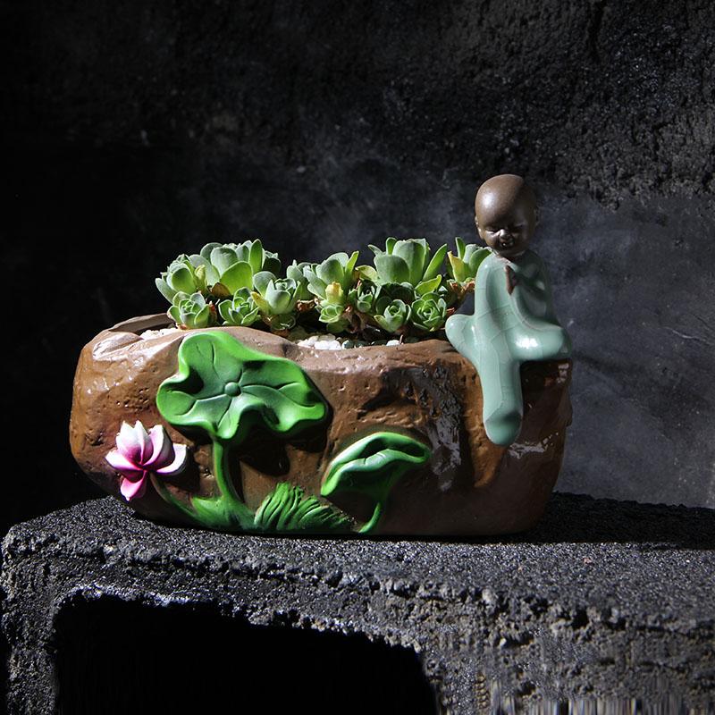 古典创意手工紫砂中国风多肉花盆-多肉花盆网
