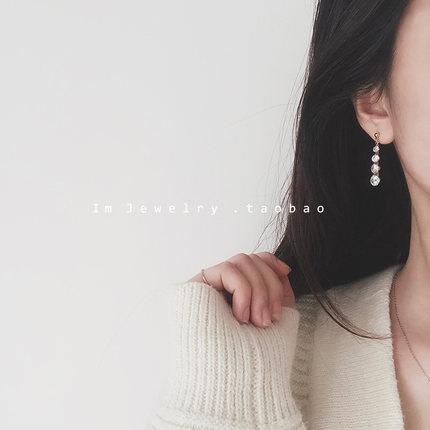 925银针闪亮锆石耳环女长款气质渐变耳钉女超仙百搭韩版简约耳饰