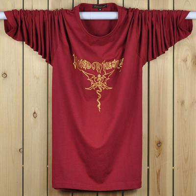 Phương thức mùa hè mỏng dài tay t-shirt cộng với phân bón XL chất béo đáy áo chất béo cotton loose từ bi nam áo thun nam dài tay Áo phông dài