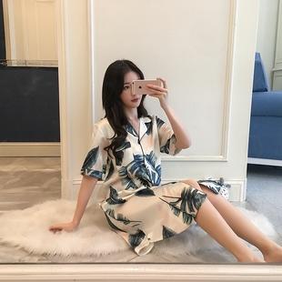 夏季仿真丝绸衬衣式冰丝睡裙女