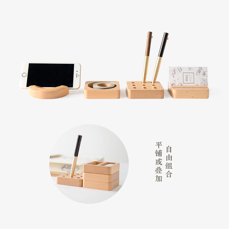 实木桌面收纳盒文具,男友创意礼物