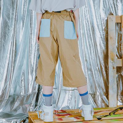 [FLAM chính thức cửa hàng trực tuyến] hip hop tide nước triều thương hiệu FYP DuPont giấy pocket loose ribbon dây kéo cắt quần 3/4 Jeans