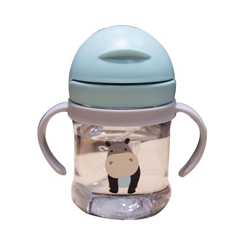 儿童喝水杯宝宝吸管杯防呛婴儿手柄水瓶耐摔不漏学饮水杯子300ml