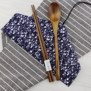 日式和风袋木筷子勺子套装