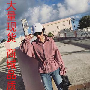 3344#果果家韩范宽松系带长袖衬衣春季灯芯绒荷叶边衬衫女