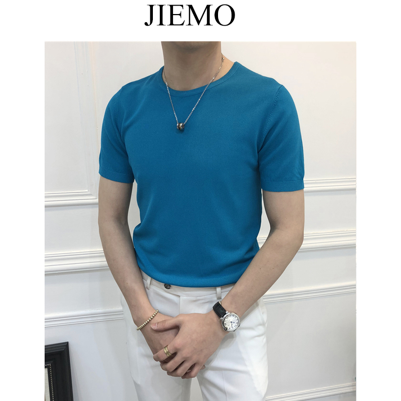 Jiemo mùa hè 10 màu băng lụa nửa tay áo đan ngắn tay T-Shirt nam thanh niên thoáng khí tự trồng căng đáy áo len triều