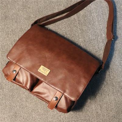 新款三盒子时尚潮流男士单肩包 休闲复古斜挎大包 电脑文件包背包