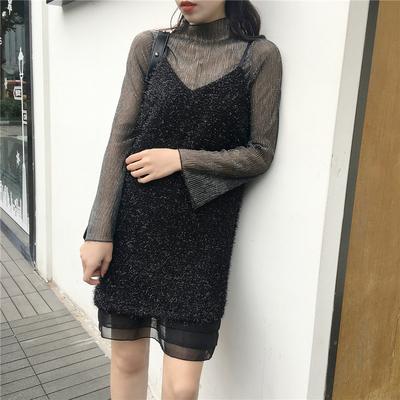 实价实拍9502#新款雪纺拼接时髦黑色性感v领吊带连衣裙+亮丝t恤