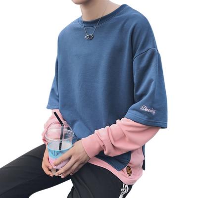 Hồng Kông phong cách mùa xuân và mùa hè của nam giới Hàn Quốc ulzzang loose Harajuku bf gió couple áo len giả hai mảnh tay áo t-shirt sinh viên Áo len