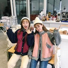 实拍韩版学院风宽松加厚保暖仿羊羔毛夹克棒球服学生棉衣外套棉服