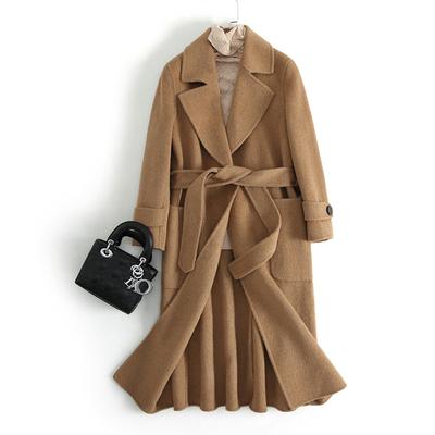 [Chống bán mùa] dài vành đai handmade Albaka alpaca hai mặt cashmere coat nữ JC-A6
