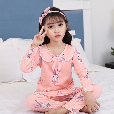 女童睡衣春秋纯棉长袖薄款套头女孩公主套装儿童全棉家居服中大童