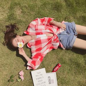 格子衬衫女装夏季新款2017韩版宽松中长款防晒衣薄外套开衫上衣服