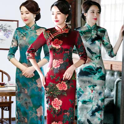 新款改良丝绸旗袍长款七分袖年会修身大码宴会日常旗袍连衣裙