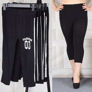 2018 mùa xuân và mùa hè mới chất béo mm7 điểm xà cạp phụ nữ mặc phần mỏng cao eo cộng với phân bón XL bảy quần 200 kg