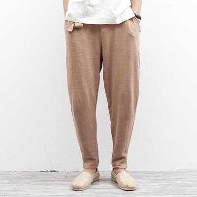 Linen chân thường quần nam đàn hồi lỏng phần mỏng cotton thoáng khí linen chùm chân phần nam eo hậu cung quần nam Quần Harem