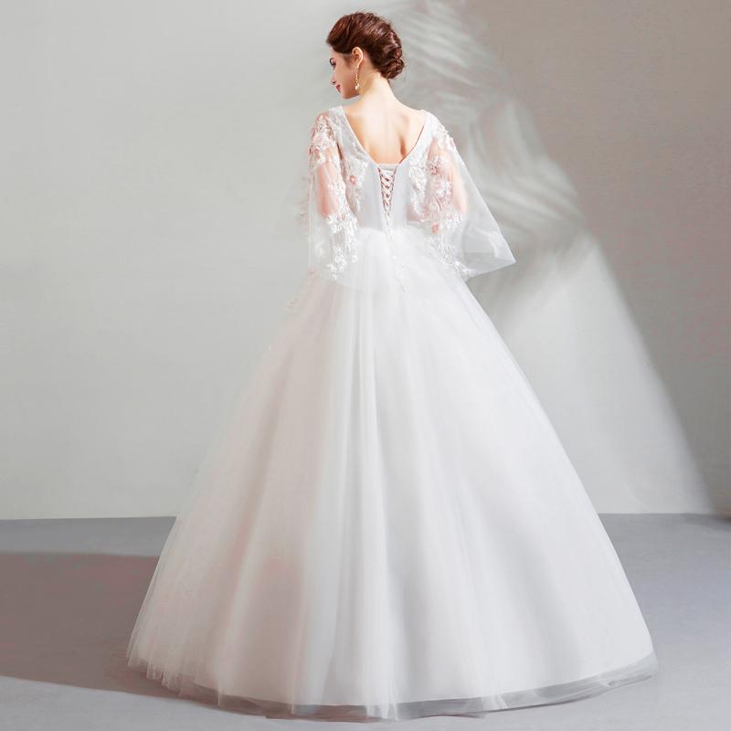 ชุดราตรียาว ชุดแต่งงานเดรสปักมุกลูกไม้ยาวปิดเท้าทรงสุ่ม ไซส์XSถึงXL สีขาว นำเข้า พรีออเดอร์BD0183 ราคา4200บาท