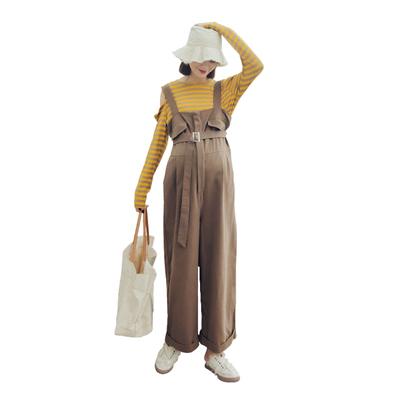 孕妇背带裤秋装时尚款新款潮妈女怀孕期宽松秋季背带裤潮