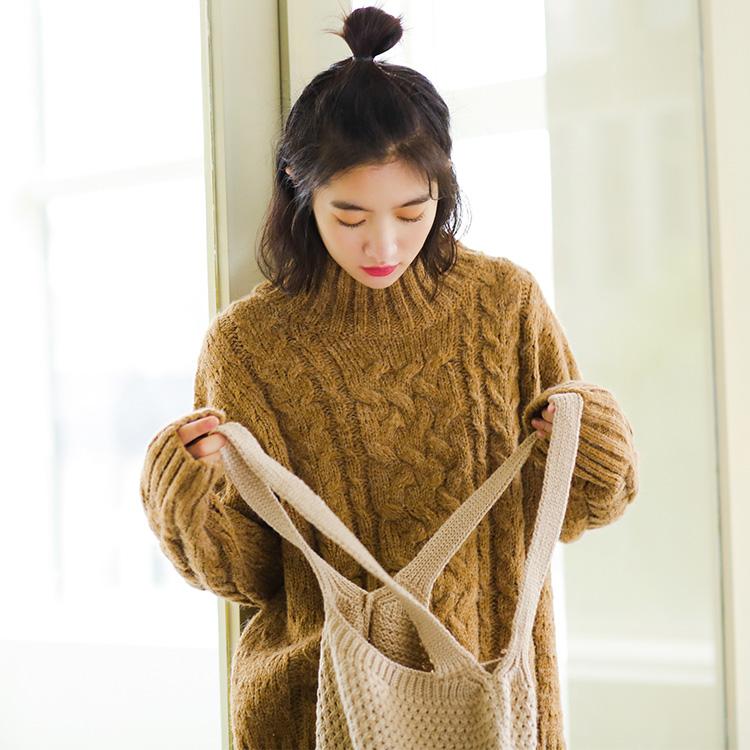 实拍韩国女装 秋冬新款高领加厚毛衣1364