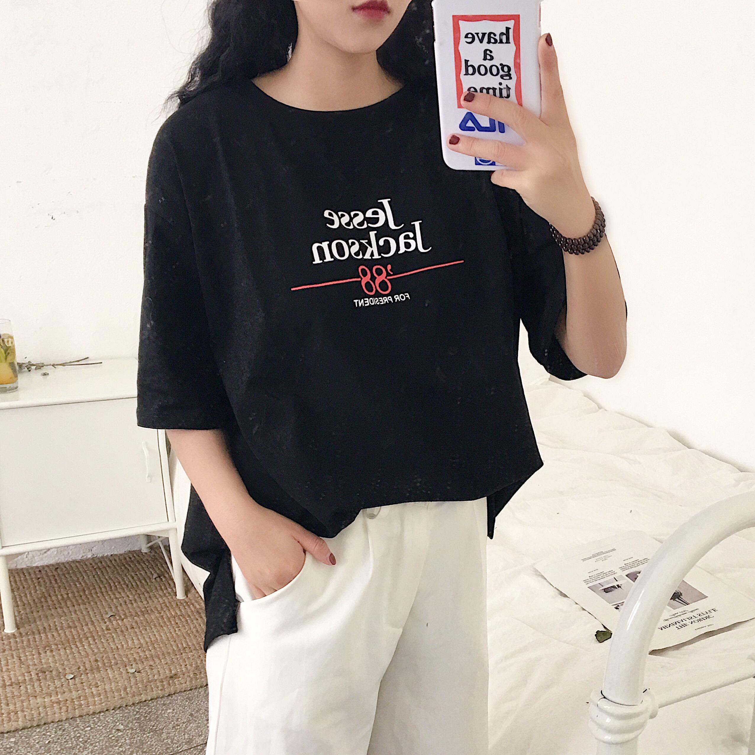 已检测面料三标齐~实拍1067#早春韩国ins复古字母短袖T恤女